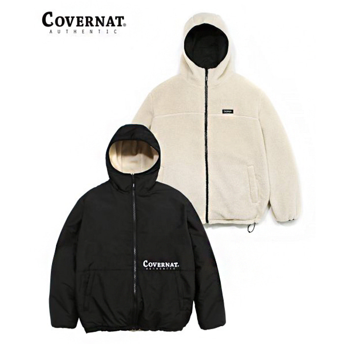 커버낫 REVERSIBLE FLEECE WARM UP JACKET IV/BK