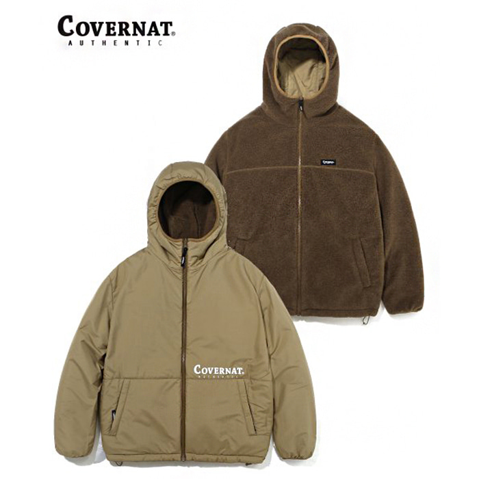 커버낫 REVERSIBLE FLEECE WARM UP JACKET BROWN