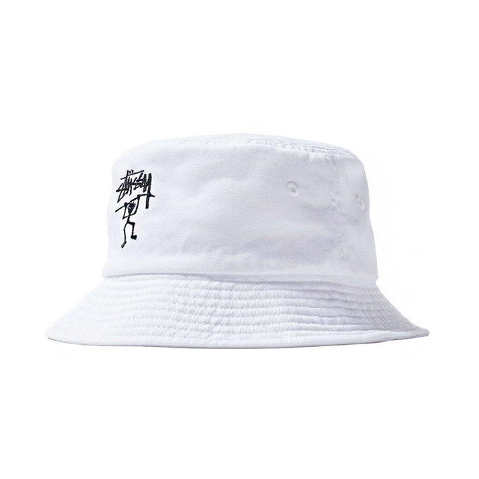 스투시 버킷햇 WARRIOR MAN BUCKET HAT/WHITE