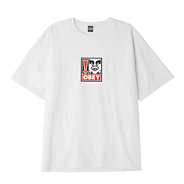 오베이 티셔츠 OBEY EXCLAMATION POINT BOX TEE/WHITE