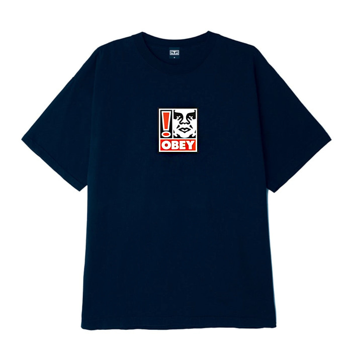 오베이 티셔츠 OBEY EXCLAMATION POINT BOX TEE/NAVY