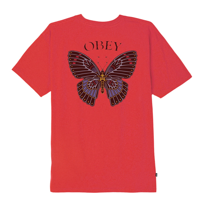 오베이 티셔츠 OBEY BUTTERFLY  RIO RED