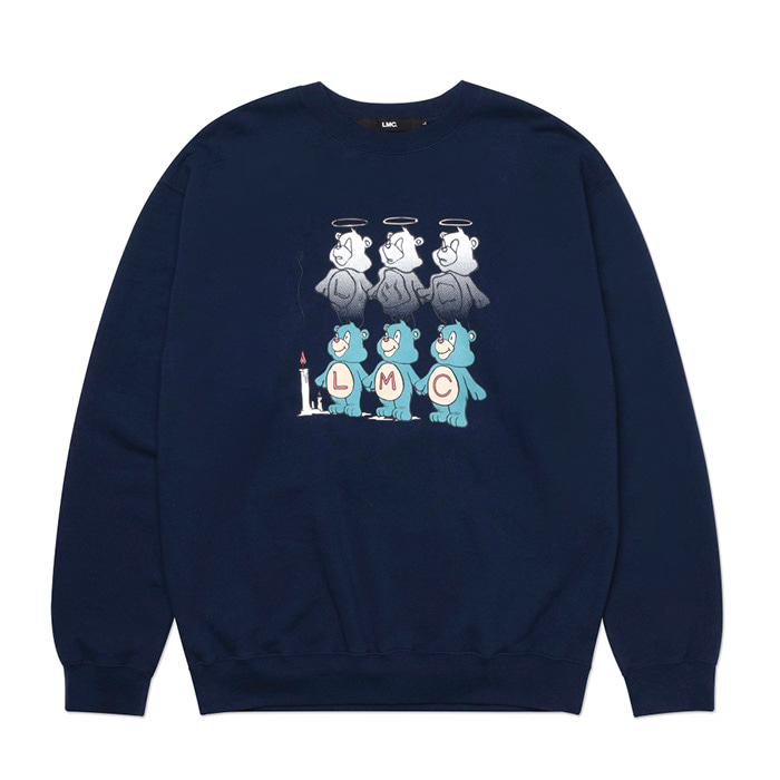 엘엠씨 맨투맨 LMC THREE BEARS SWEATSHIRT navy