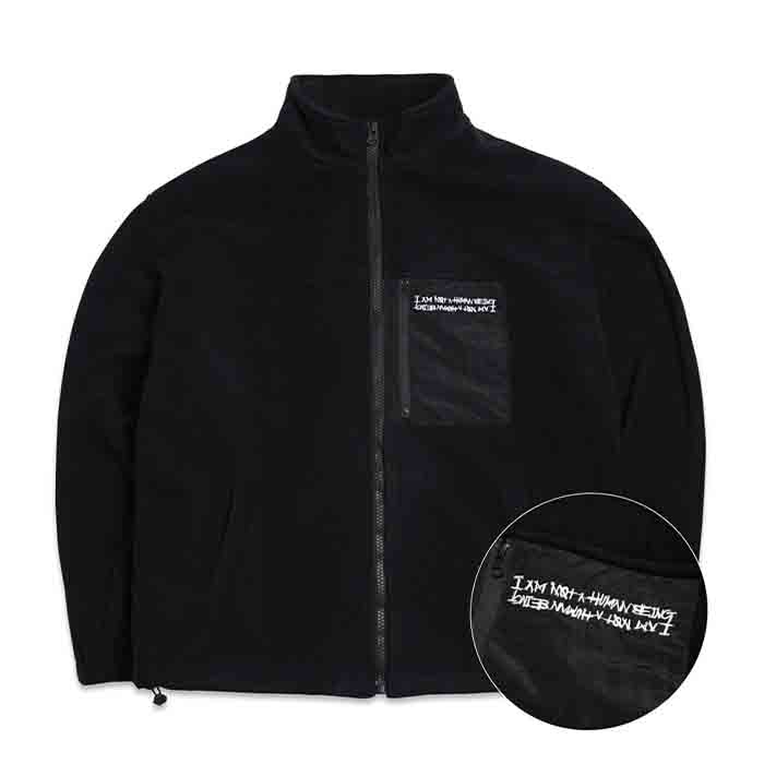 휴먼비잉 LOGO FLEECE ZIP-UP JACKET - BLACK